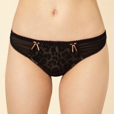 Black animal print thong