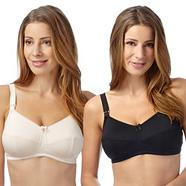 Pack of two black and white nursing bras