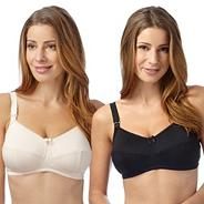 Pack of two black and white C-H drop cup nursing bra