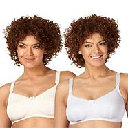 Pack of two white and natural C-H drop cup nursing bras