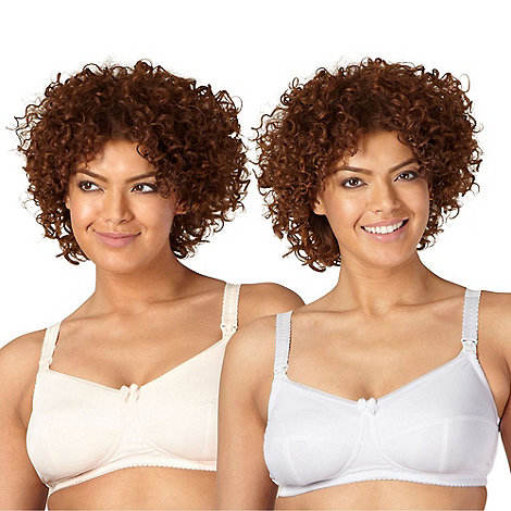 Miriam Stoppard Nurture - Pack of two white and natural C-H drop cup nursing bras