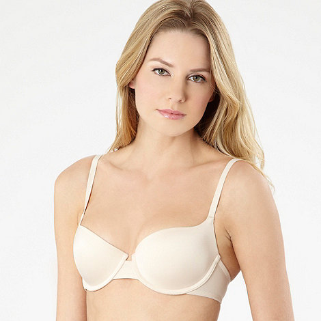 Debenhams - Pack of two white and natural microfibre t-shirt bras