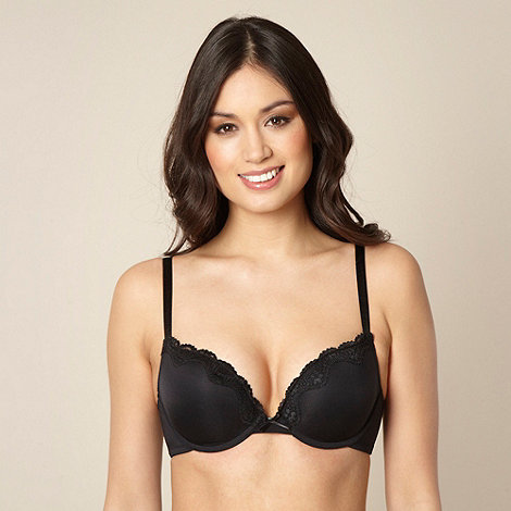 Debenhams - Black lace trimmed push up bra