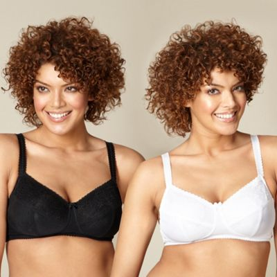 Pack of two black and white maternity bras