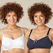 Pack of two white and navy nursing bras