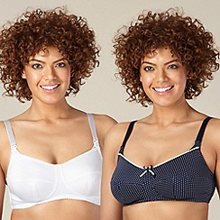 Miriam Stoppard Nurture - Pack of two white and navy nursing bras