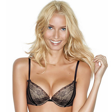 Wonderbra - Black lace gel push up plunge bra