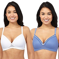 The Collection - Pack of two purple and white non wired bras