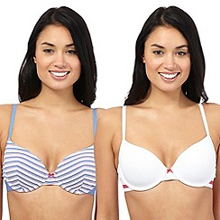 The Collection - Pack of two blue and white striped print t-shirt bras