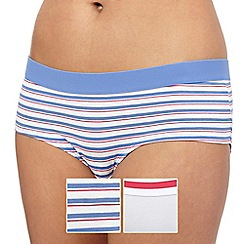 The Collection - Pack of two blue and white striped print shorts