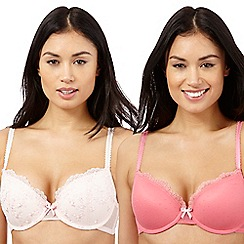 The Collection - Pack of two pale and dark pink t-shirt bras