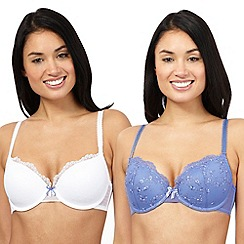The Collection - Pack of two purple and white t-shirt bras