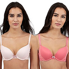 Debenhams - Pack of two pink spot push up bra