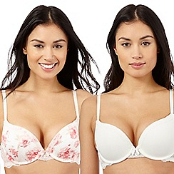 The Collection - Pack of two pink floral print and white push-up bras