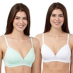 The Collection - Pack of two green and white burnout striped non wired t-shirt bras