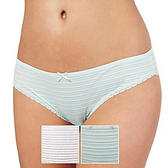The Collection - Pack of two green and white burnout stripe Brazilian briefs