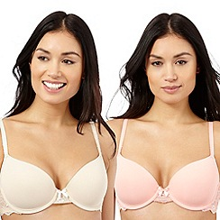 The Collection - Pack of two beige and peach lace trim t-shirt bras