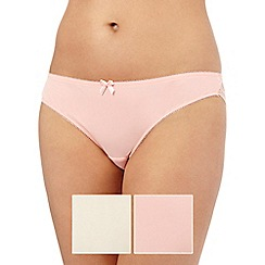 The Collection - Pack of two beige and peach lace trim Brazilian briefs
