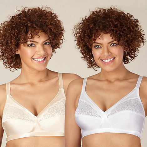 Debenhams - Pack of two natural & white lace detail non-wired bras