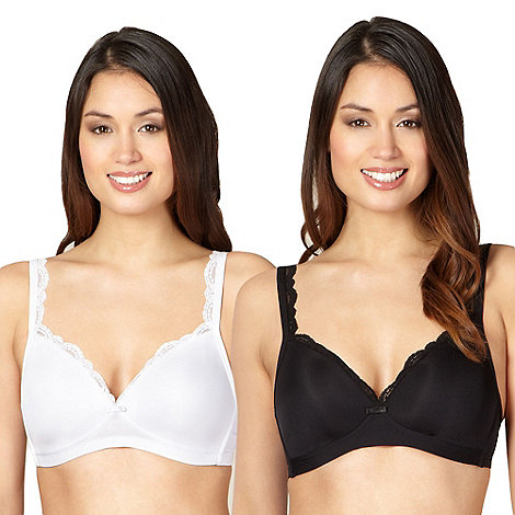 Debenhams - Pack of two black and white non-wired bras
