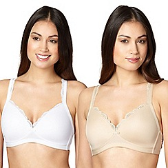 Debenhams - Pack of two white and natural non-wired bras