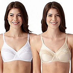 Debenhams - Pack of two white and natural lace non wired bras