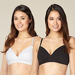 Debenhams - Pack of two black and white non wired bras