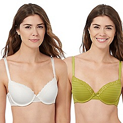 The Collection - Pack of two green and cream burnout striped t-shirt bras