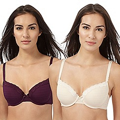 The Collection - Pack of two beige and dark purple t-shirt bras