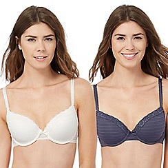 The Collection - Pack of two grey and cream burnout striped t-shirt bras