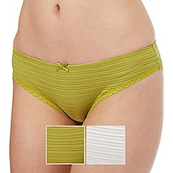 The Collection - Pack of two green and cream burnout striped Brazilian briefs