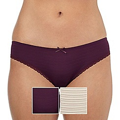The Collection - Pack of two burnout striped Brazilian briefs