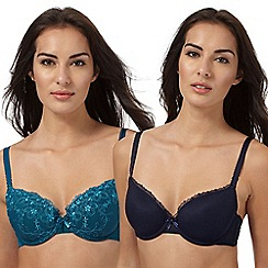 The Collection - Pack of two navy and turquoise t-shirt bras
