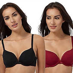 The Collection - Pack of two dark red and black push up bras