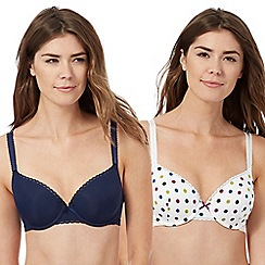 The Collection - Pack of two white polka dot and navy t-shirt bras