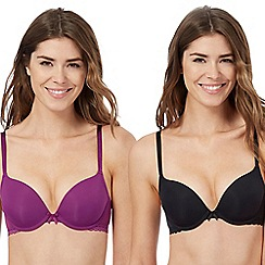 The Collection - Pack of two purple and black push up bras