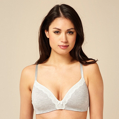 Debenhams - Grey cotton modal lace trim non wire bra