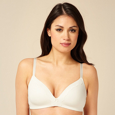 Debenhams - Ivory cotton modal lace trim non wire bra