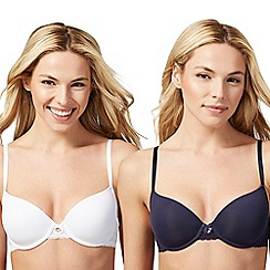 The Collection - Pack of two white and navy t-shirt bras