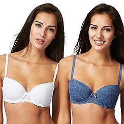 The Collection - Pack of two blue and white lace trim balcony bras