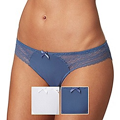 The Collection - Pack of two blue and white lace trim Brazilian briefs