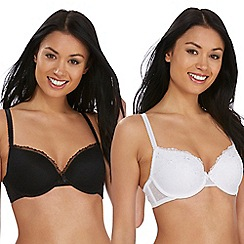 The Collection - 2 pack black and white mesh embroidered underwired padded t-shirt bras