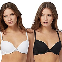 The Collection - 2 pack black and white embroidered underwired padded push up bras