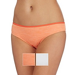 The Collection - Pack of two orange and white bikini briefs