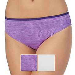 The Collection - Pack of two purple and white bikini briefs