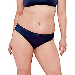 Spirit - Navy embroidered Brazilian knickers