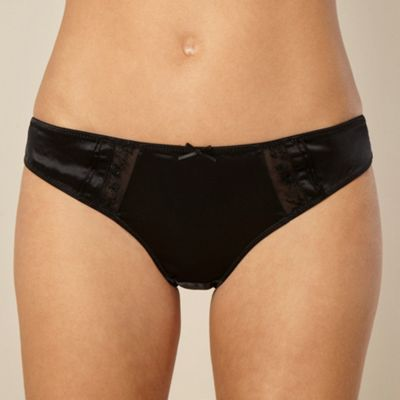 Black embroidered mesh trimmed briefs