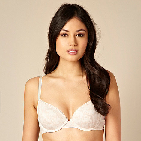 Debenhams - Set of two natural plain and floral picot trimmed t-shirt bras