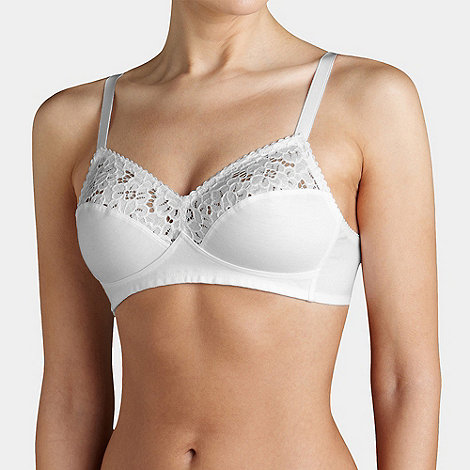 Triumph - White cotton lace comfort white non-wired bra