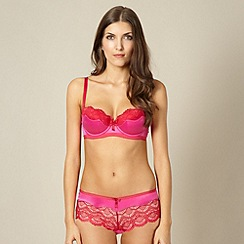 Ultimate - Bright pink lace trimmed push up balcony bra